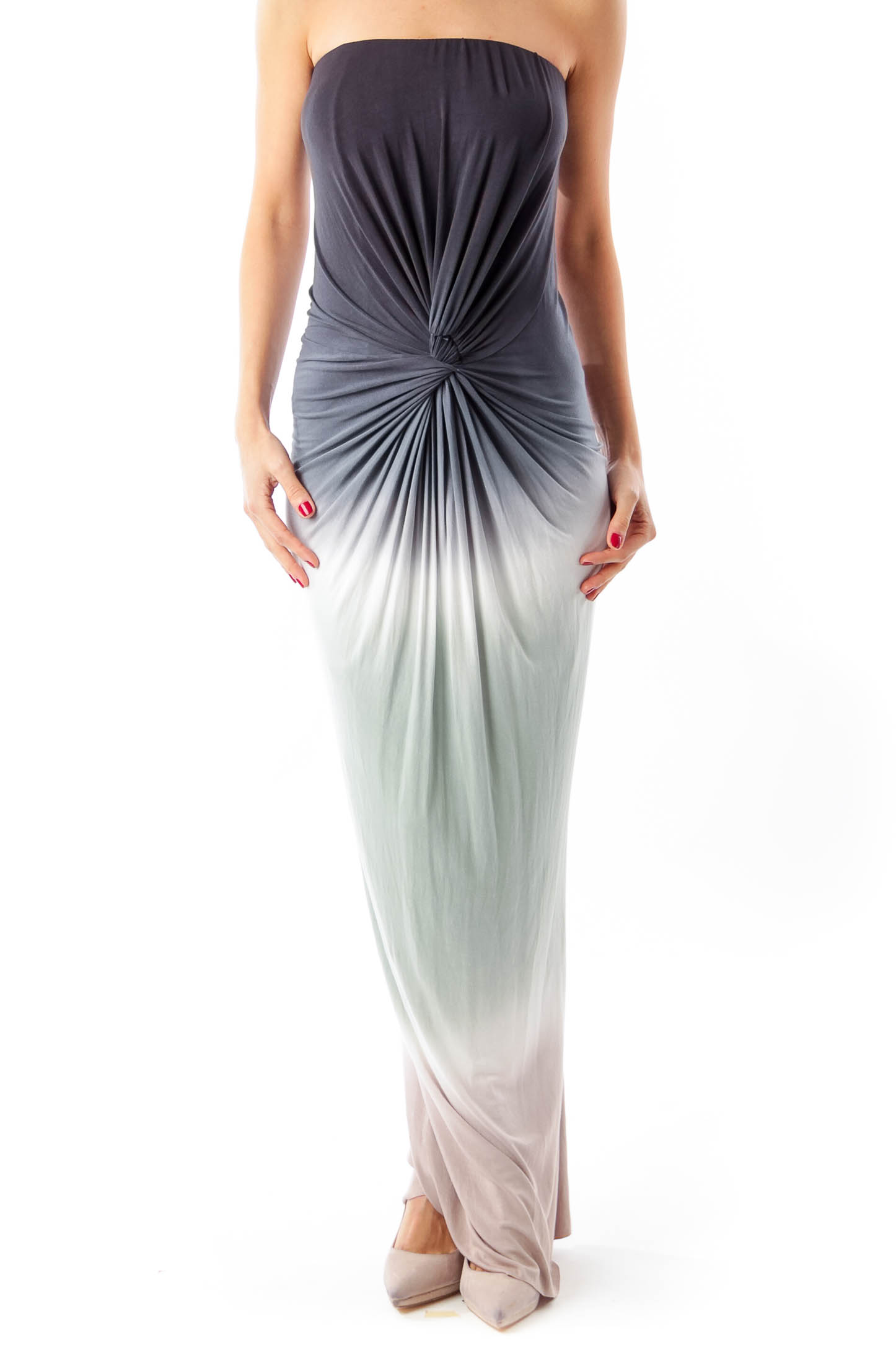 Multi-color Strapless Maxi Dress
