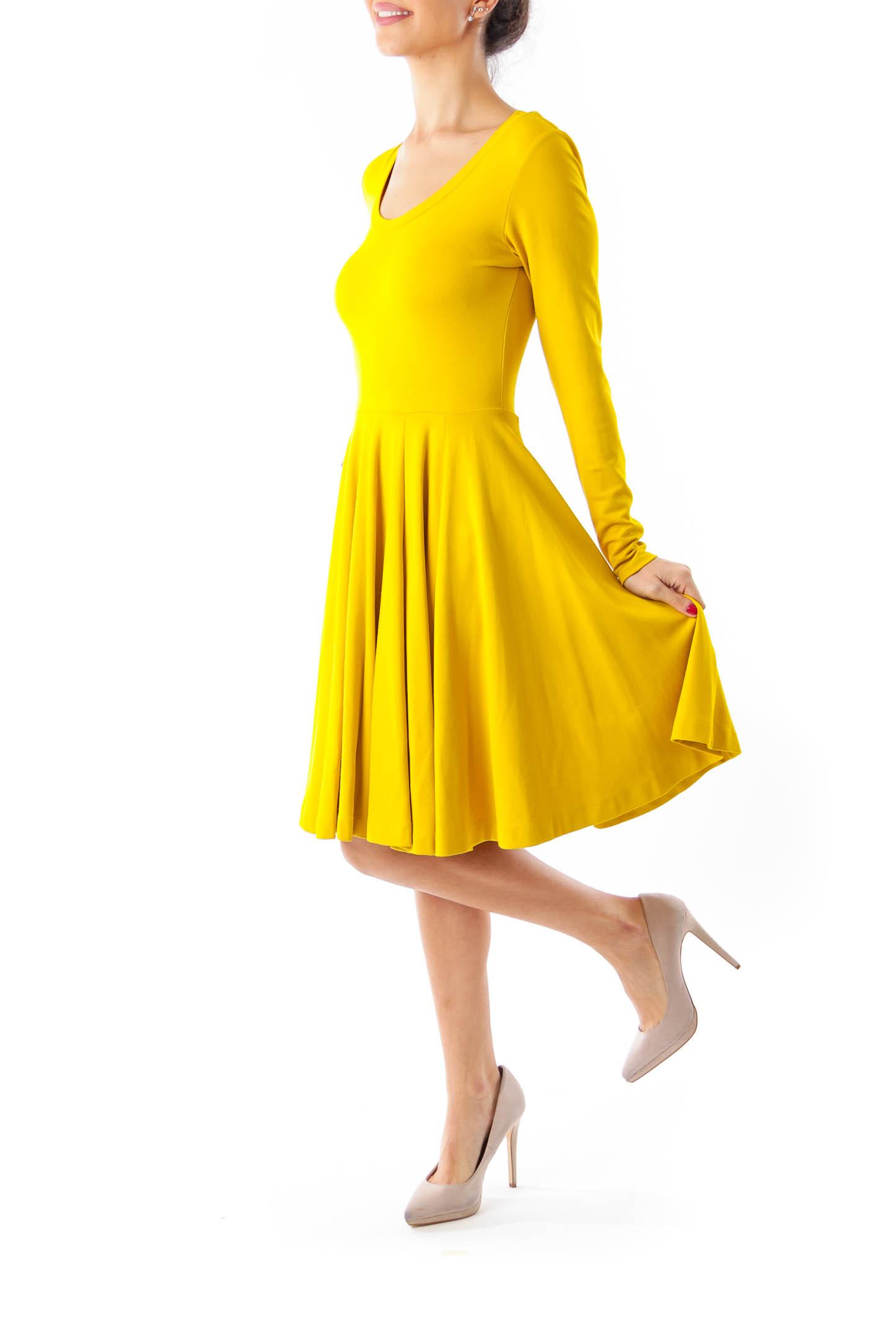 Mustard Yellow Flared Jersey Dress