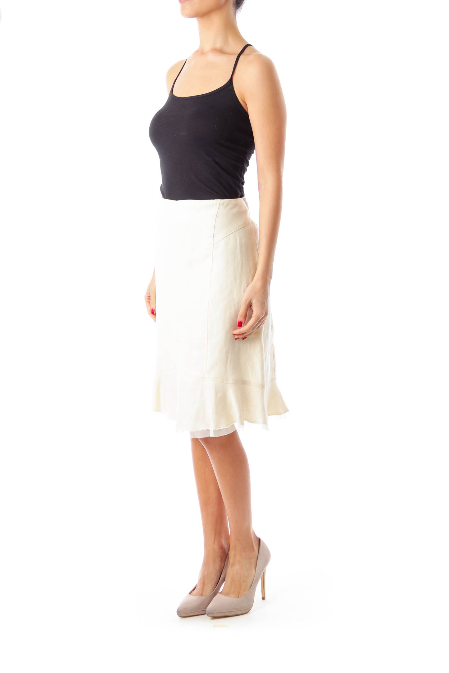 Cream Pencil Skirt