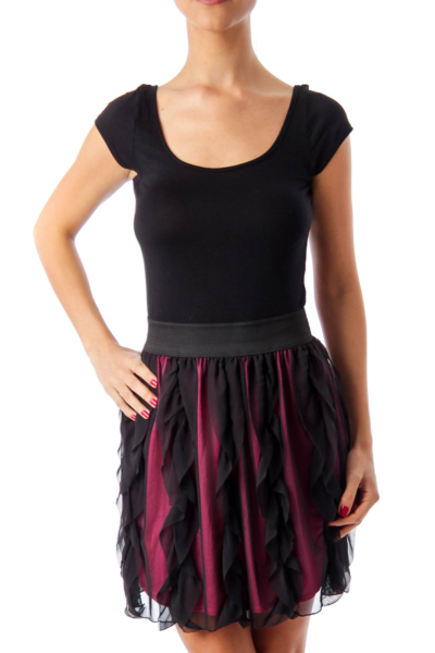 Black Elastic Waist Layered Dress