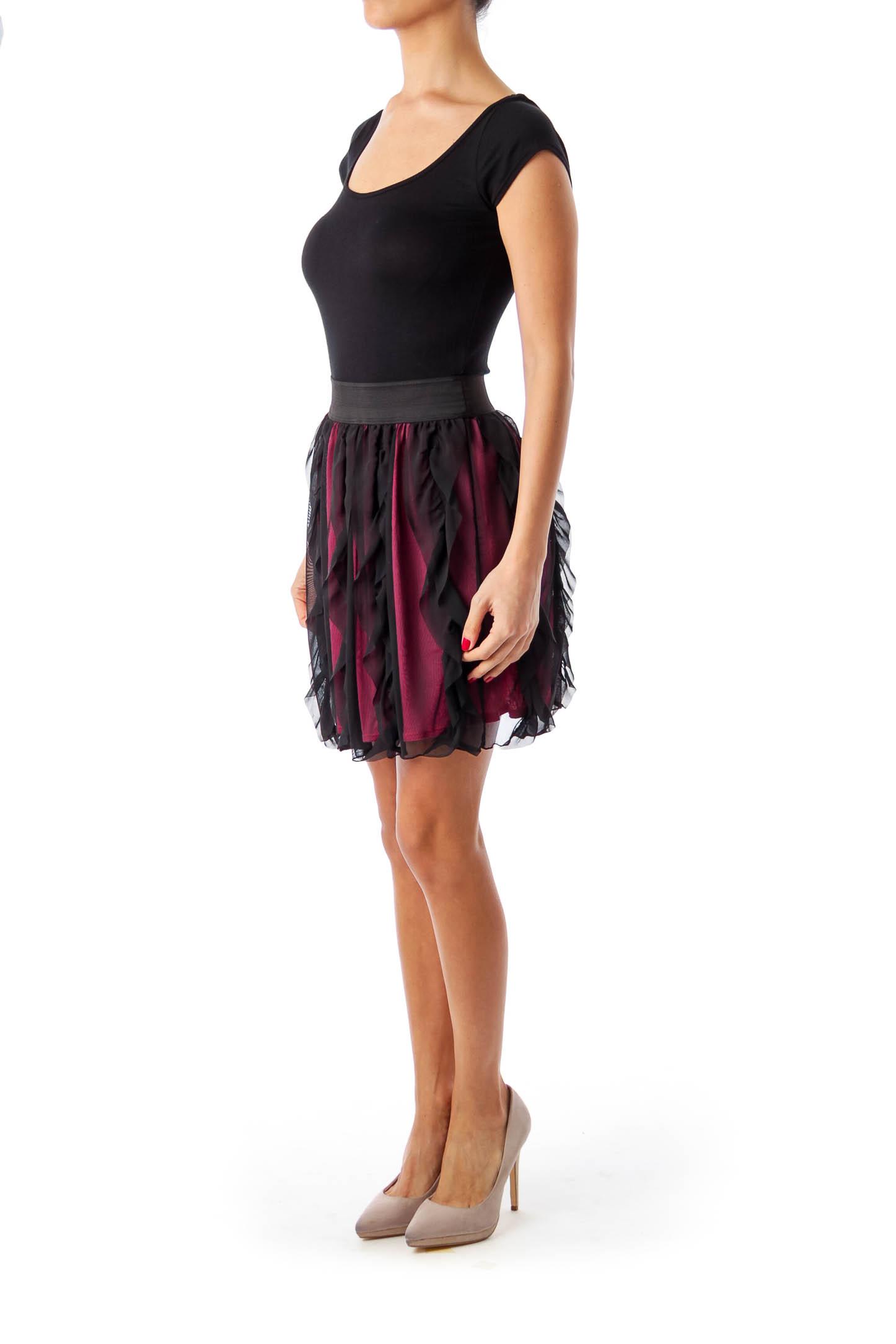 Black Elastic Waist Layered Dress