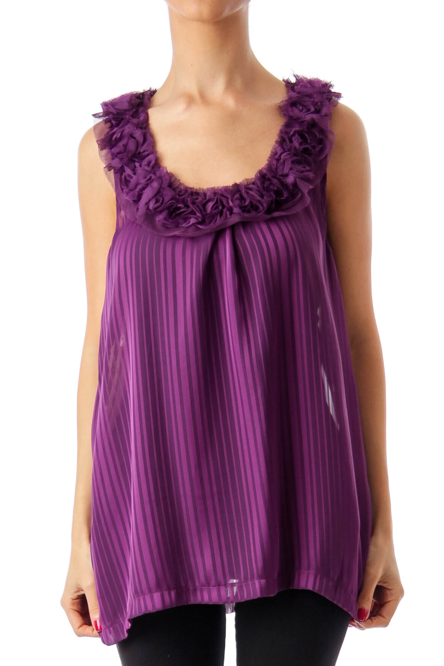 Purple See-Through Sleeveless Top