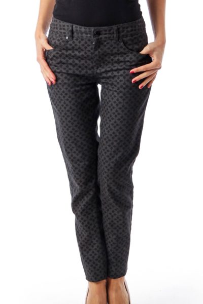 Black & Gray Pattern Printed Skinny Jeans