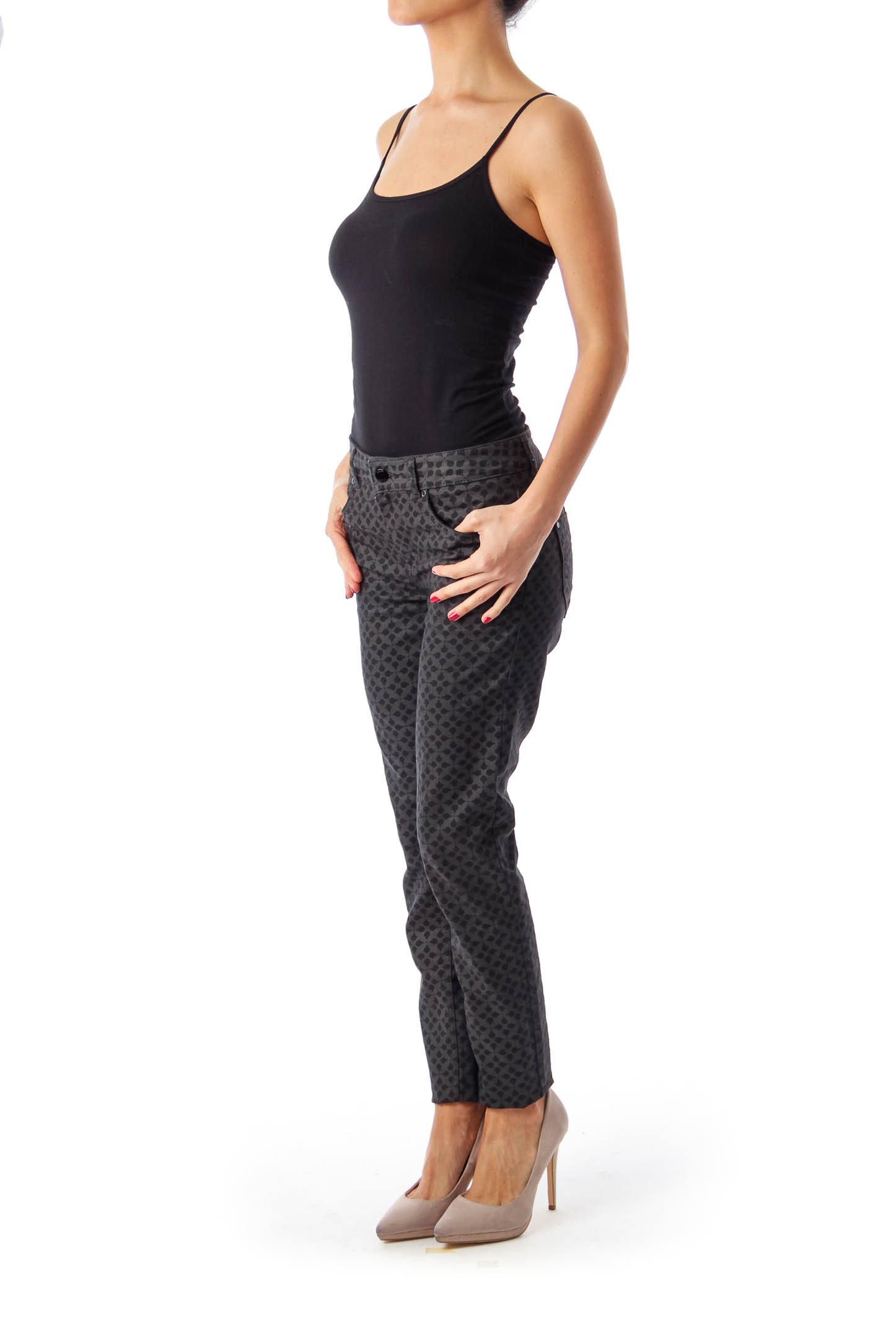 Black & Gray Pattern Printed Skinny Jeans