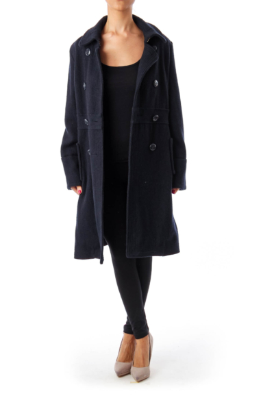 Navy Double Button Down Coat