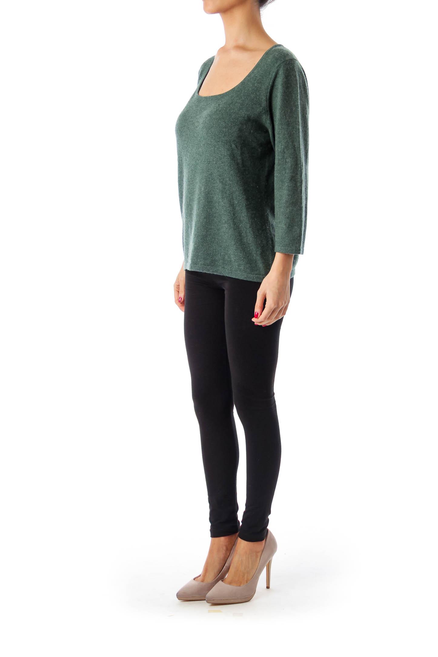 Green Cashmere Lound Neck Knit