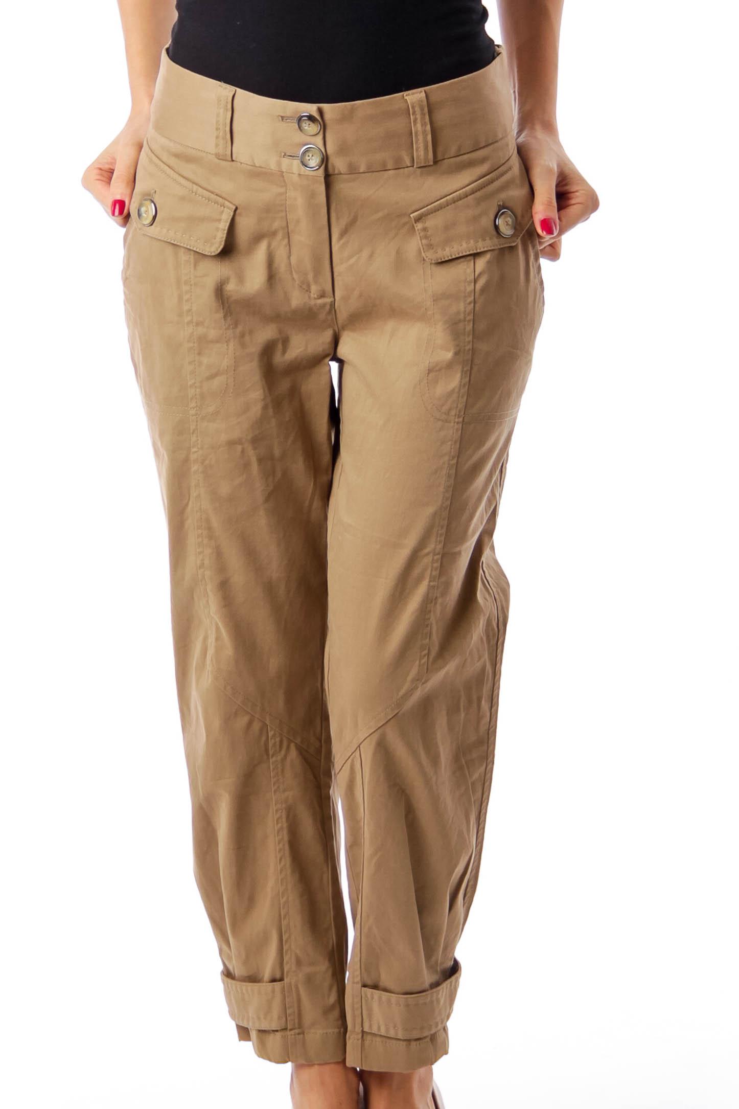 Brown Pocket Detail Cropped Pants