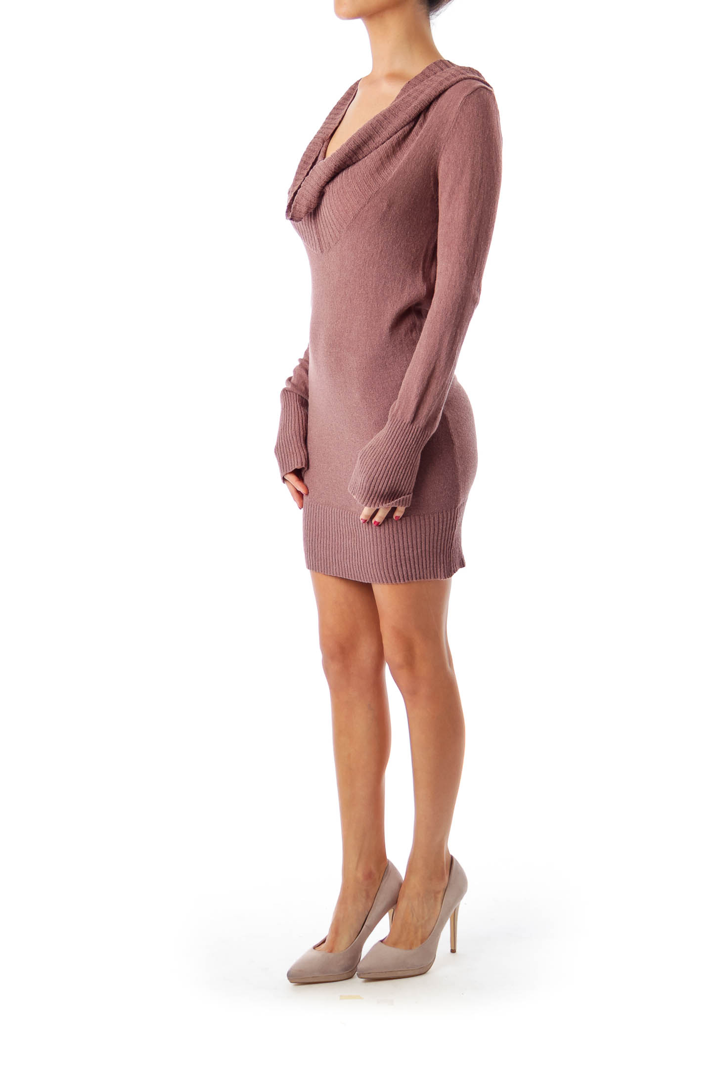 Brown Cowl Neck Knit Tunic