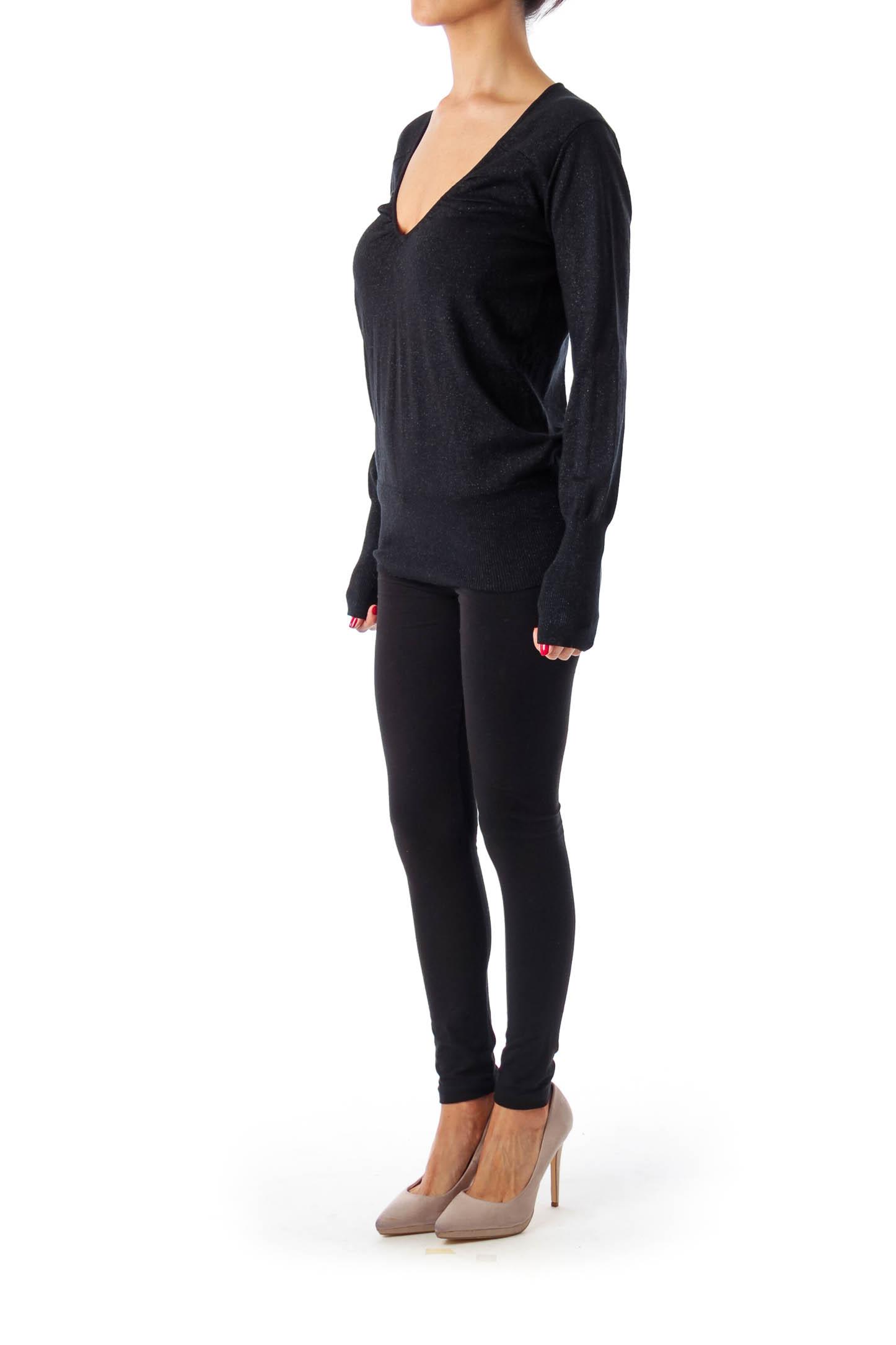 Black V-Neck Metallic Sleeve Top