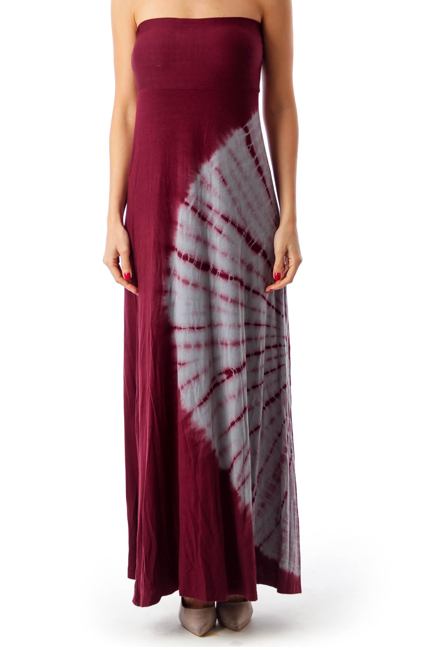 Burgundy & Gray Dyed Maxi Dress