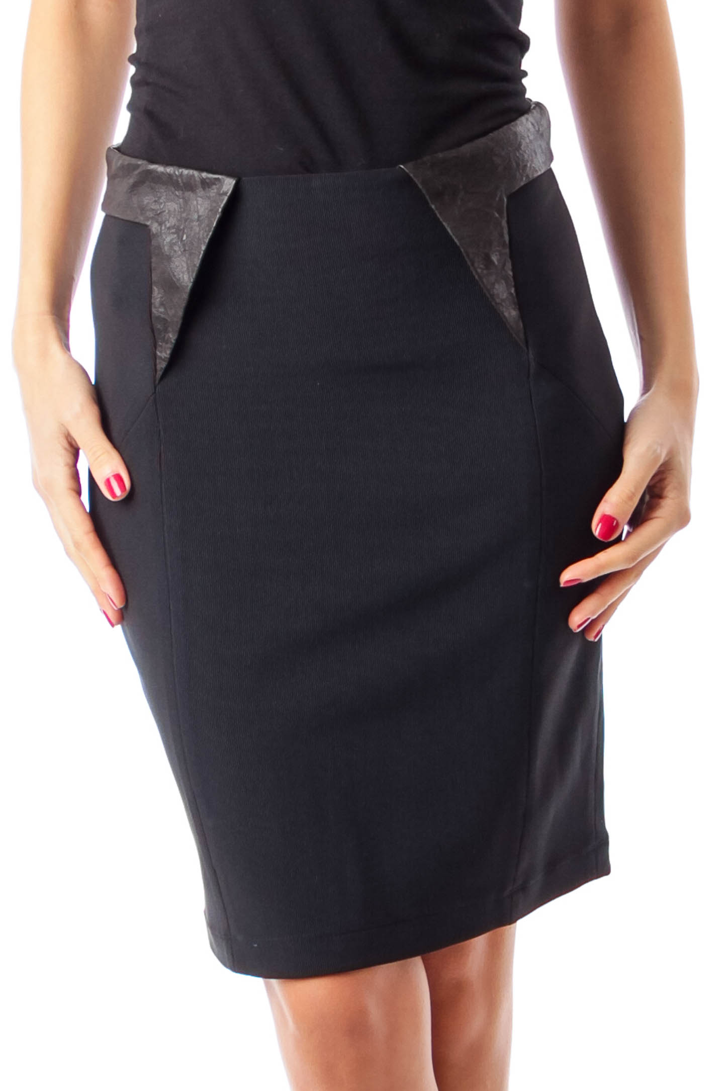 Black Leather Trim Pencil Skirt
