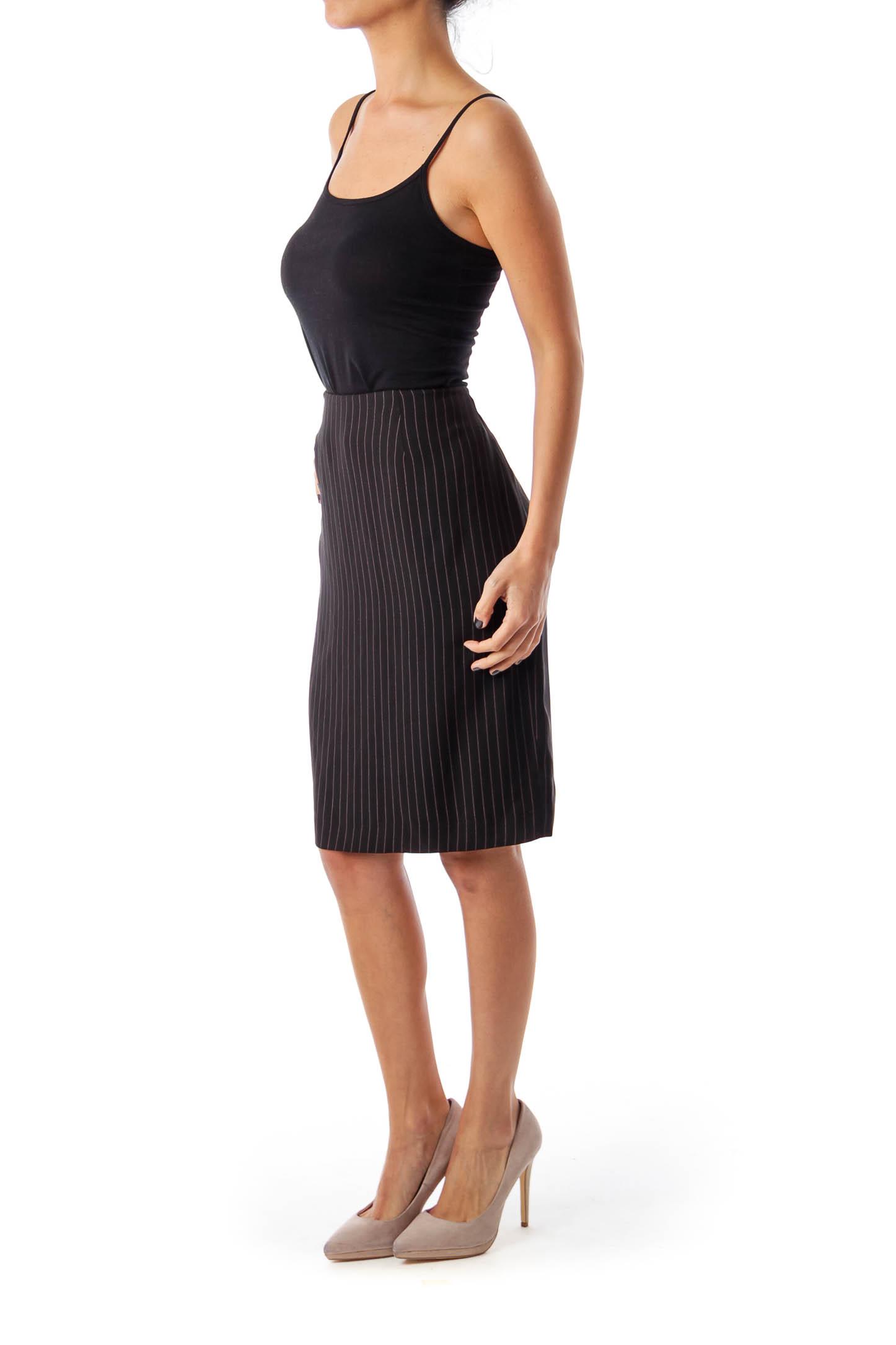 Black Stripe Pencil Skirt
