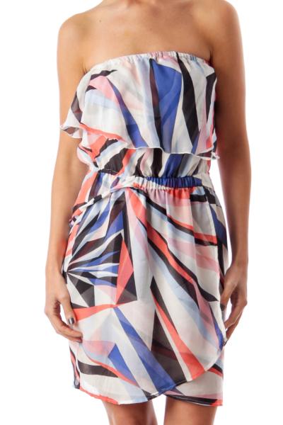 Multi Color Stripe Strapless Dress