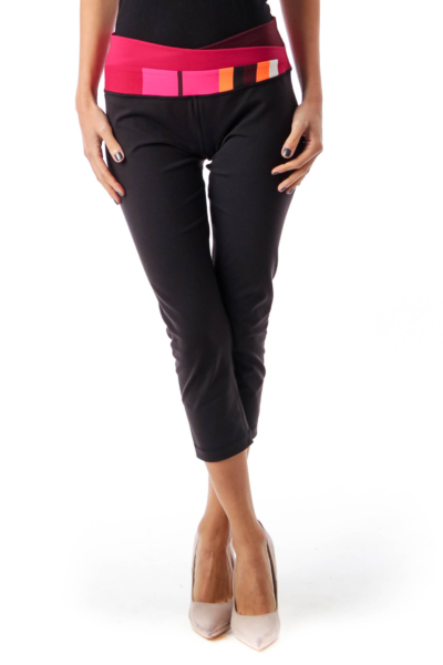 Black & Red Cropped Yoga Pants