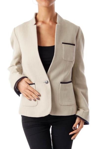 Beige Tweed Collarless Jacket