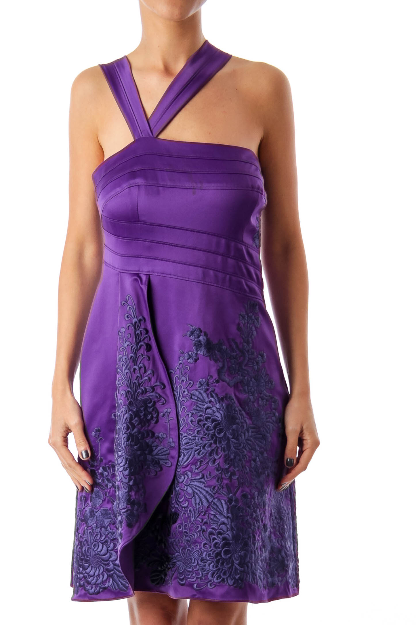 Purple Asymmetric Embroidered Dress