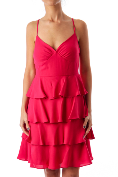 Fuchsia Ruffle Cocktail Dress