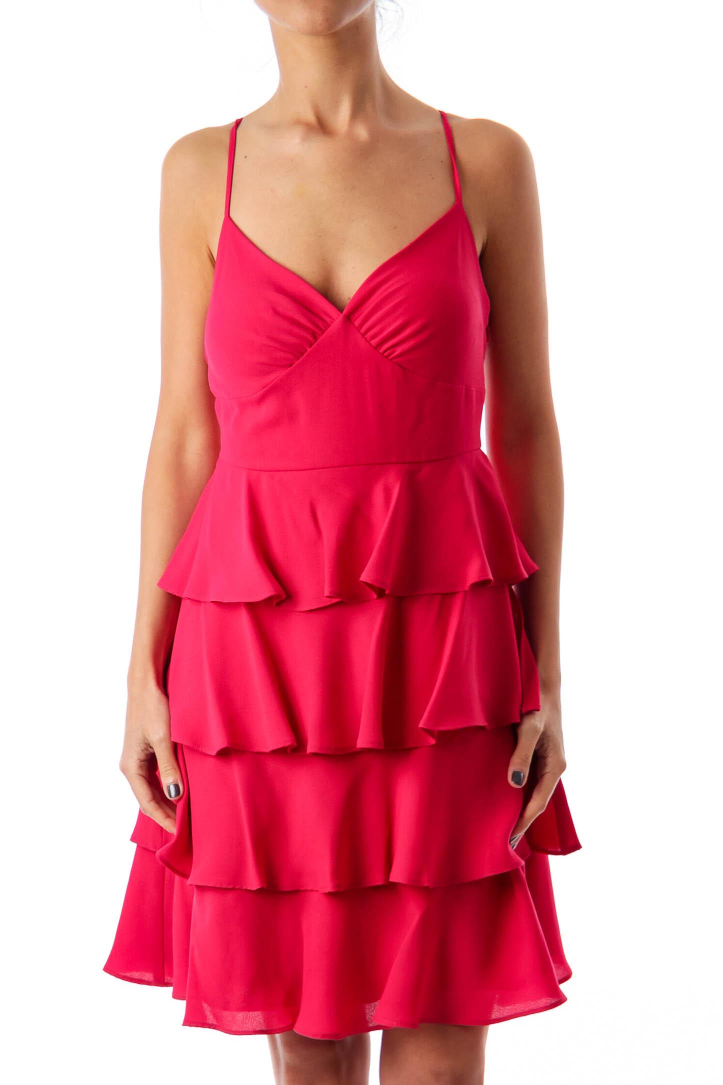 Fuchsia Ruffle Cocktail Dress