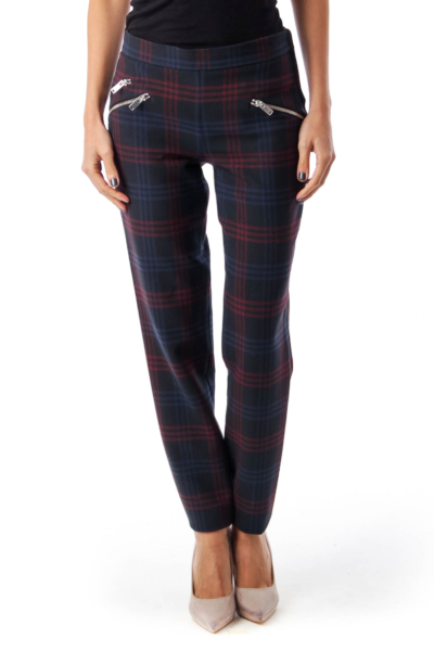 Navy & Red Check Skinny Pants