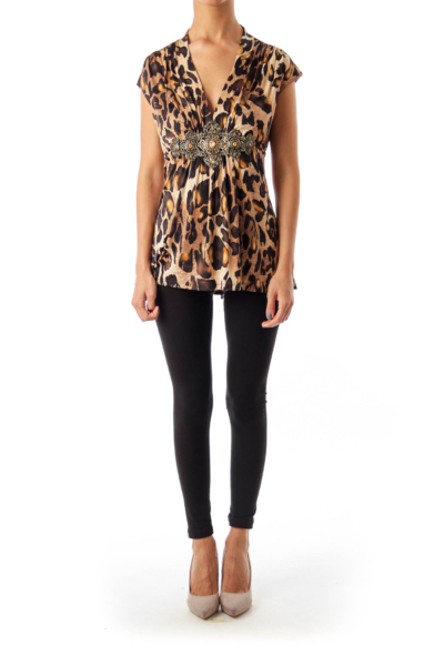 Brown Metal Detail Animal Print Top