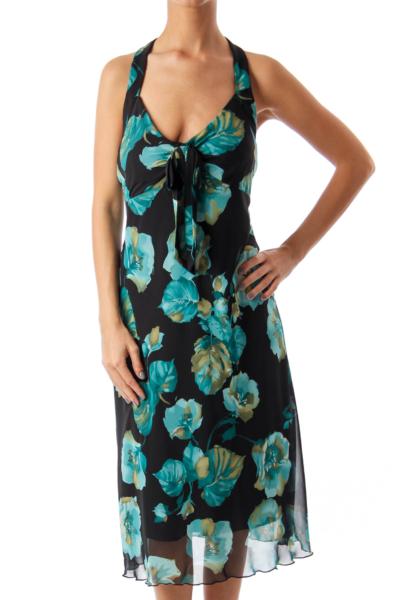 Black & Turquoise Floral Halter Dress