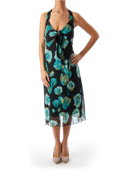 Black & Turquoise Floral Halter Dress