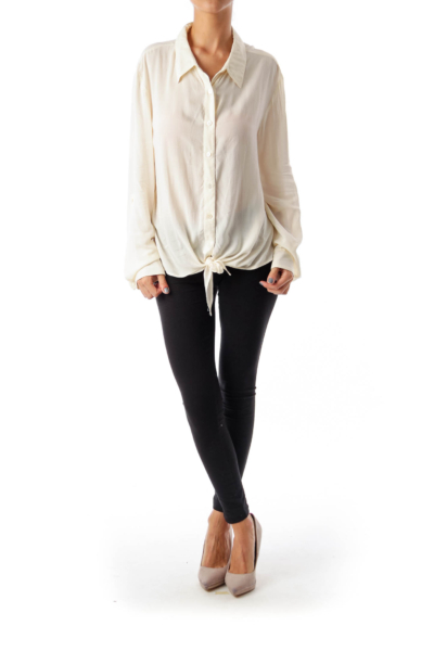 Ivory Lace Back Button Down Shirt