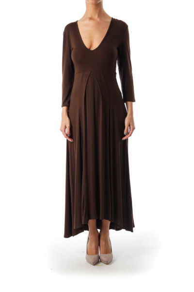 Brown V-Neck Maxi Dress