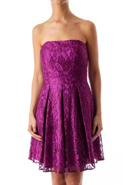 Purple Laced Strapless Dress