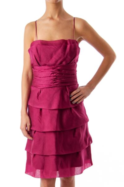 Purple Spaghetti Strap Ruffle Dress