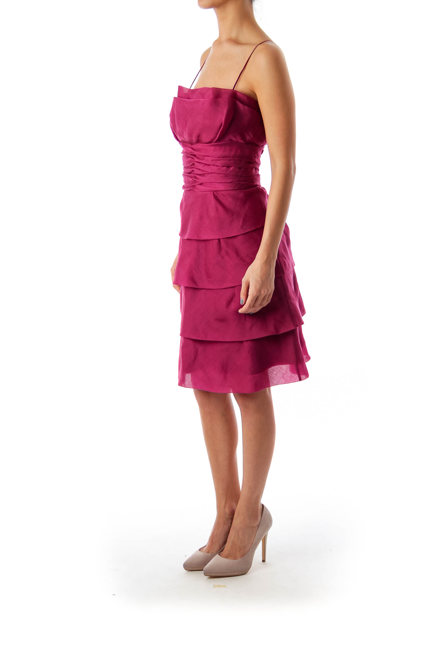 Purple Spaghetti Strap Ruffle Dress