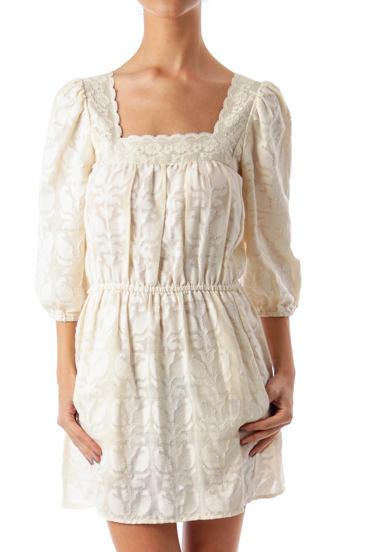 Cream Flower Embroidered A-Line Dress