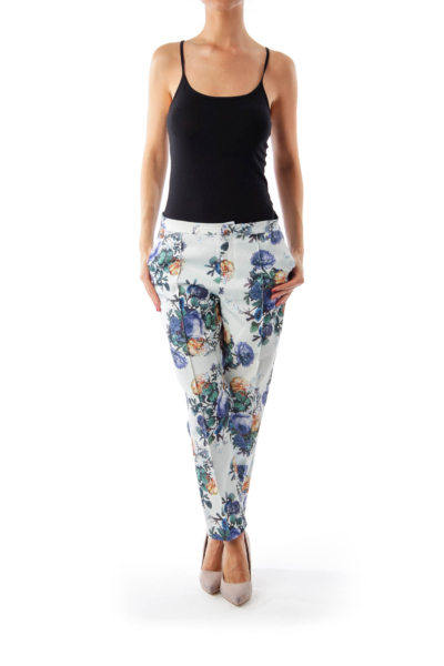 Blue Flower Print Cropped Pants