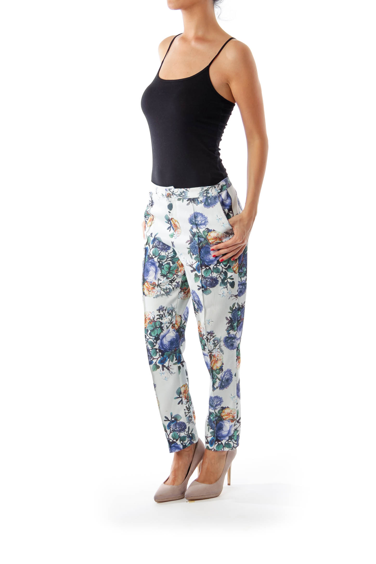 Blue Flower Print Cropped Pants