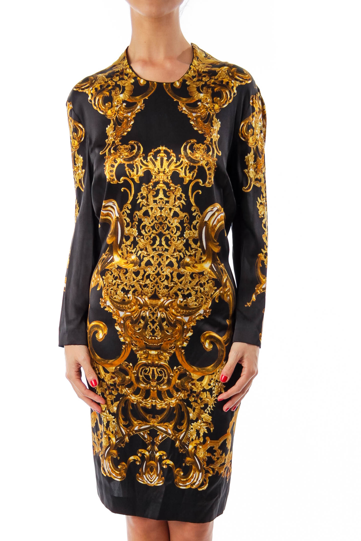Black & Gold Print Silk Dress