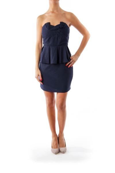 Navy Peplum Strapless Dress