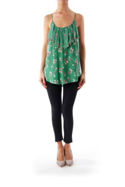 Green Tulip Print Cami Top