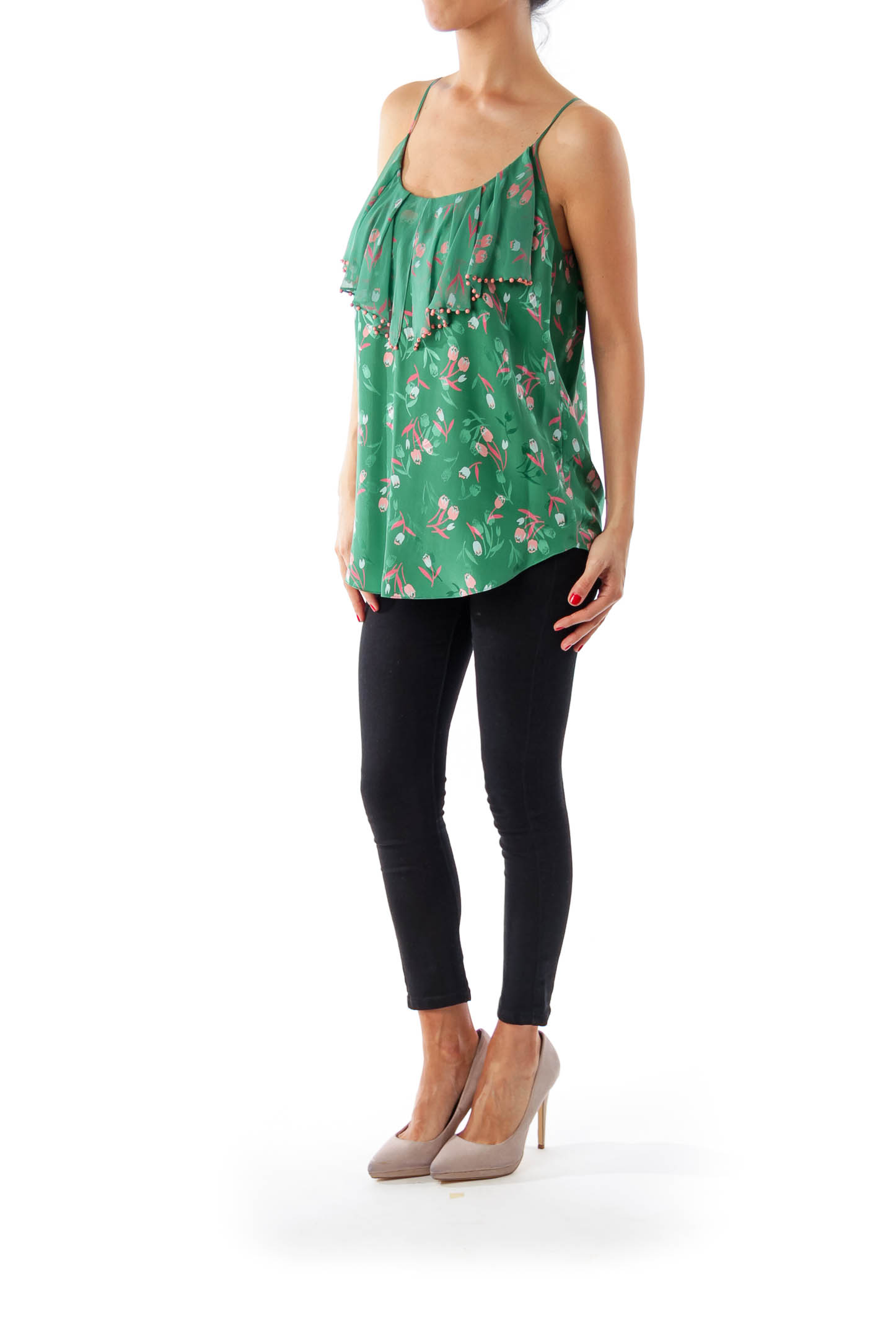 Green Tulip Print Cami Top