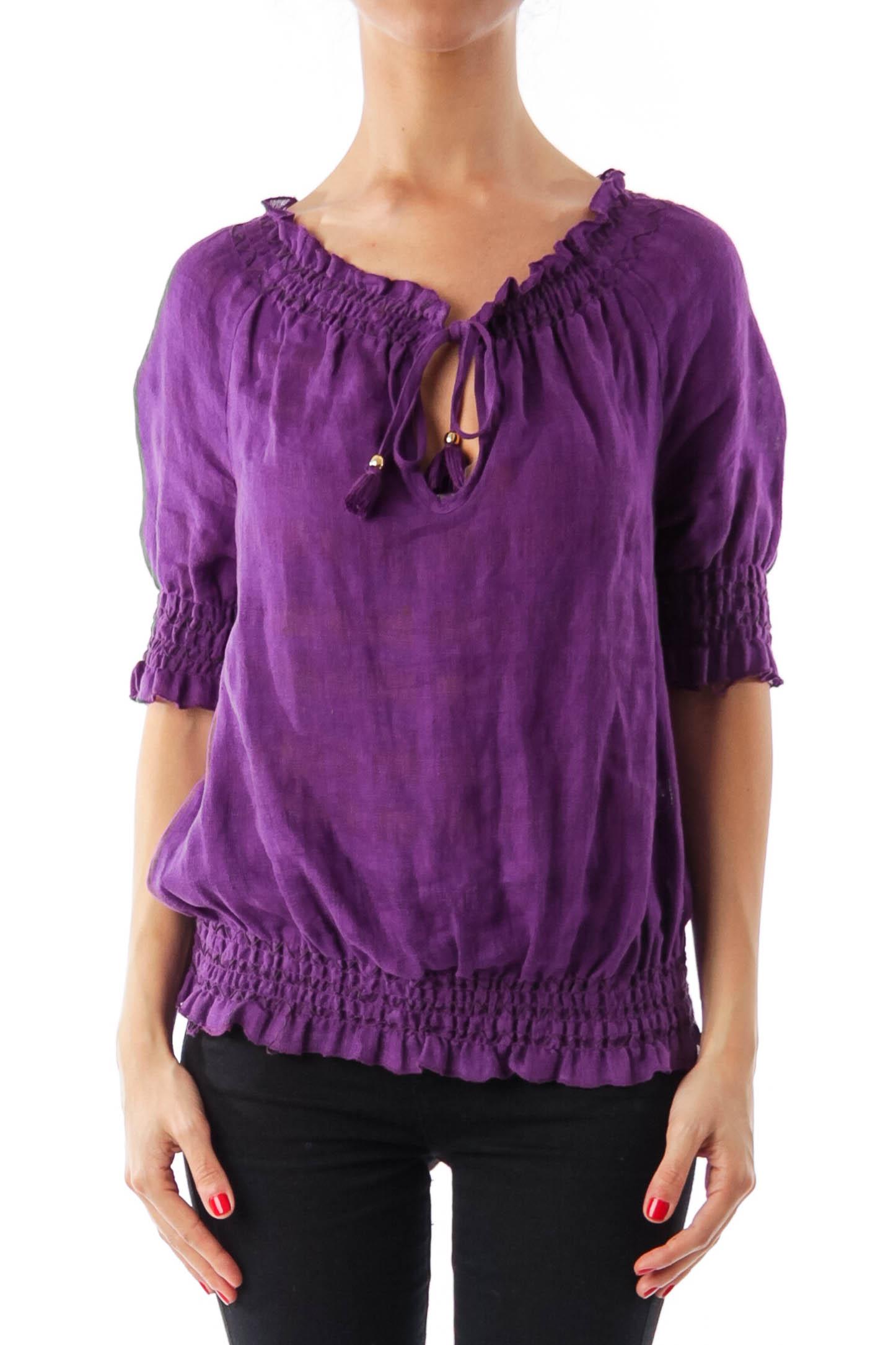 Purple Scrunch Linen Top