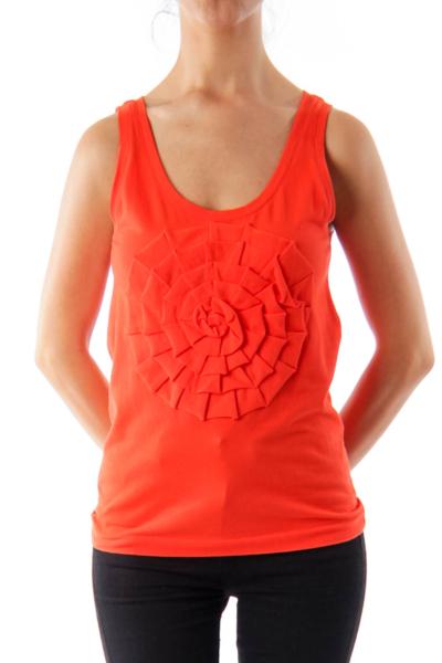 Orange Flower Detail Tank Top
