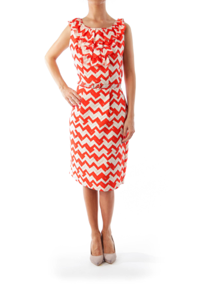 White & Red Zig Zag Belted Dress
