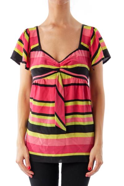 Multi Color Stripe Short Sleeve Top