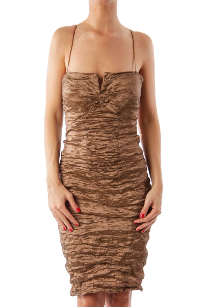 Bronze Scrunched Shear Dress