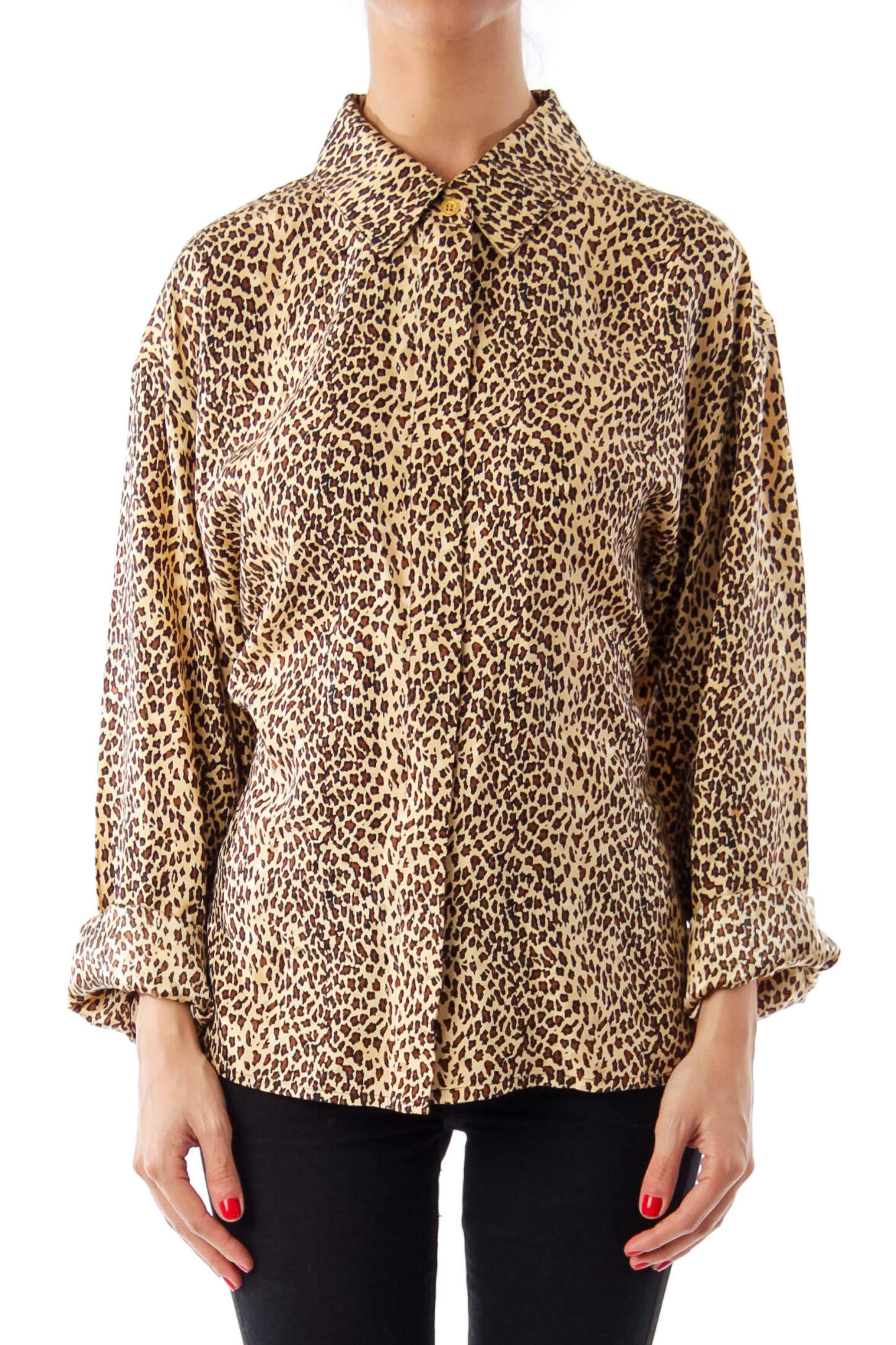 Brown Animal Print Button Down Shirt