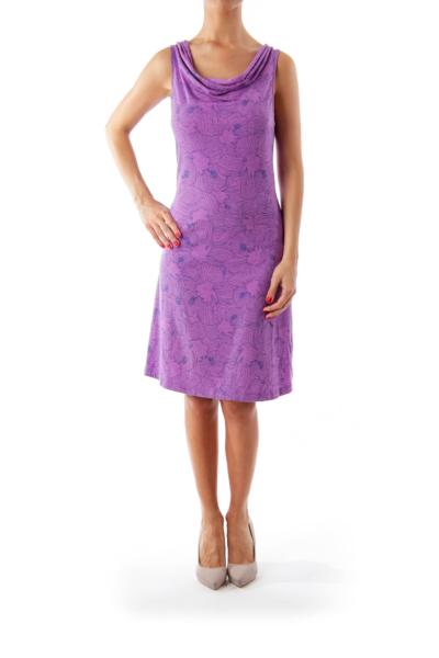 Purple Flower Print Jersey Dress