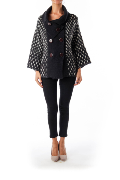 Black & White Woven Double Button Down Cardigan
