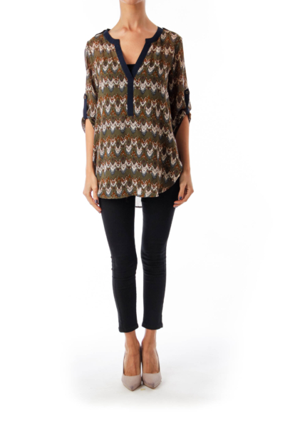 Army Green Bohemian Print Blouse