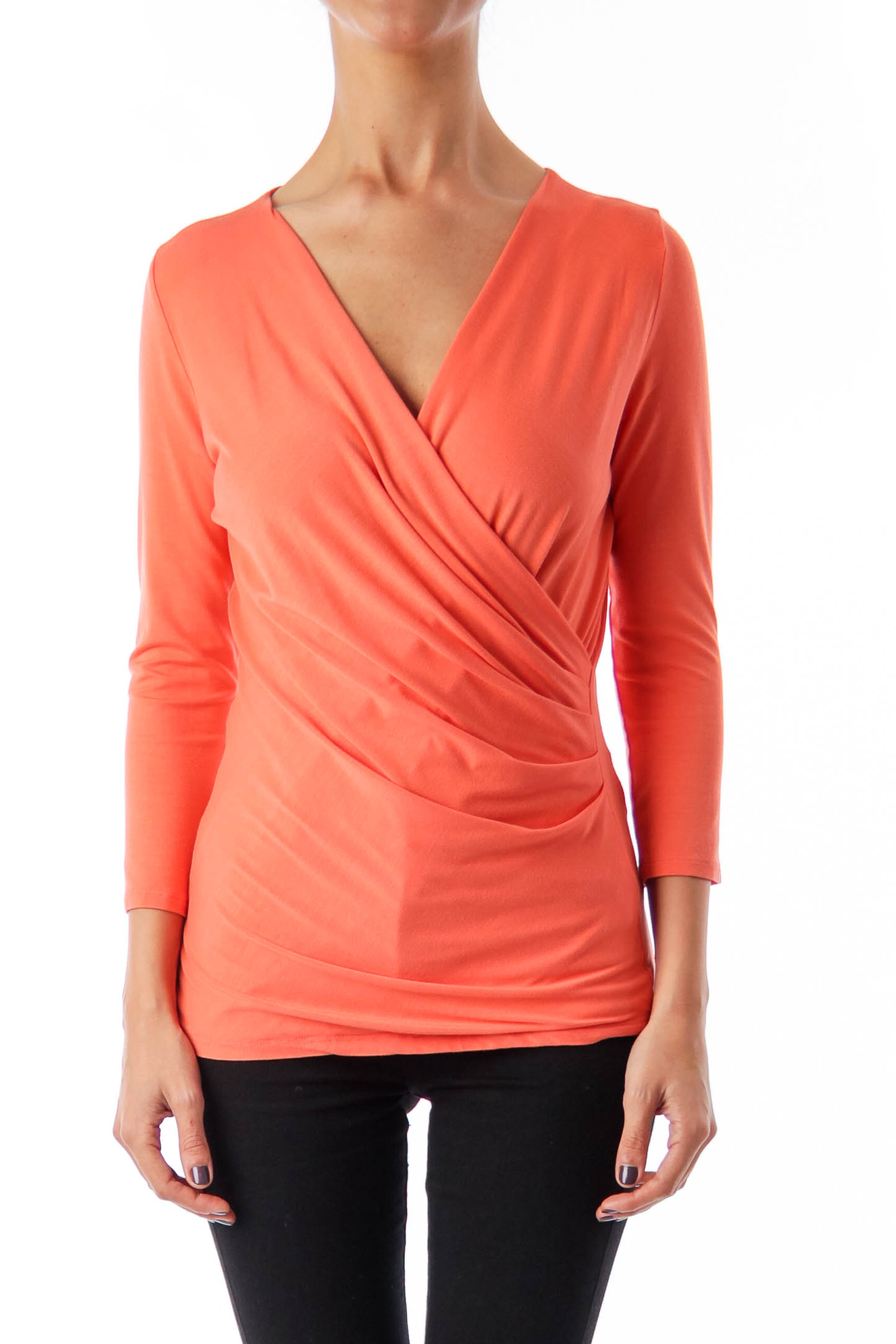 Peach V-neck 'Caprice' Top