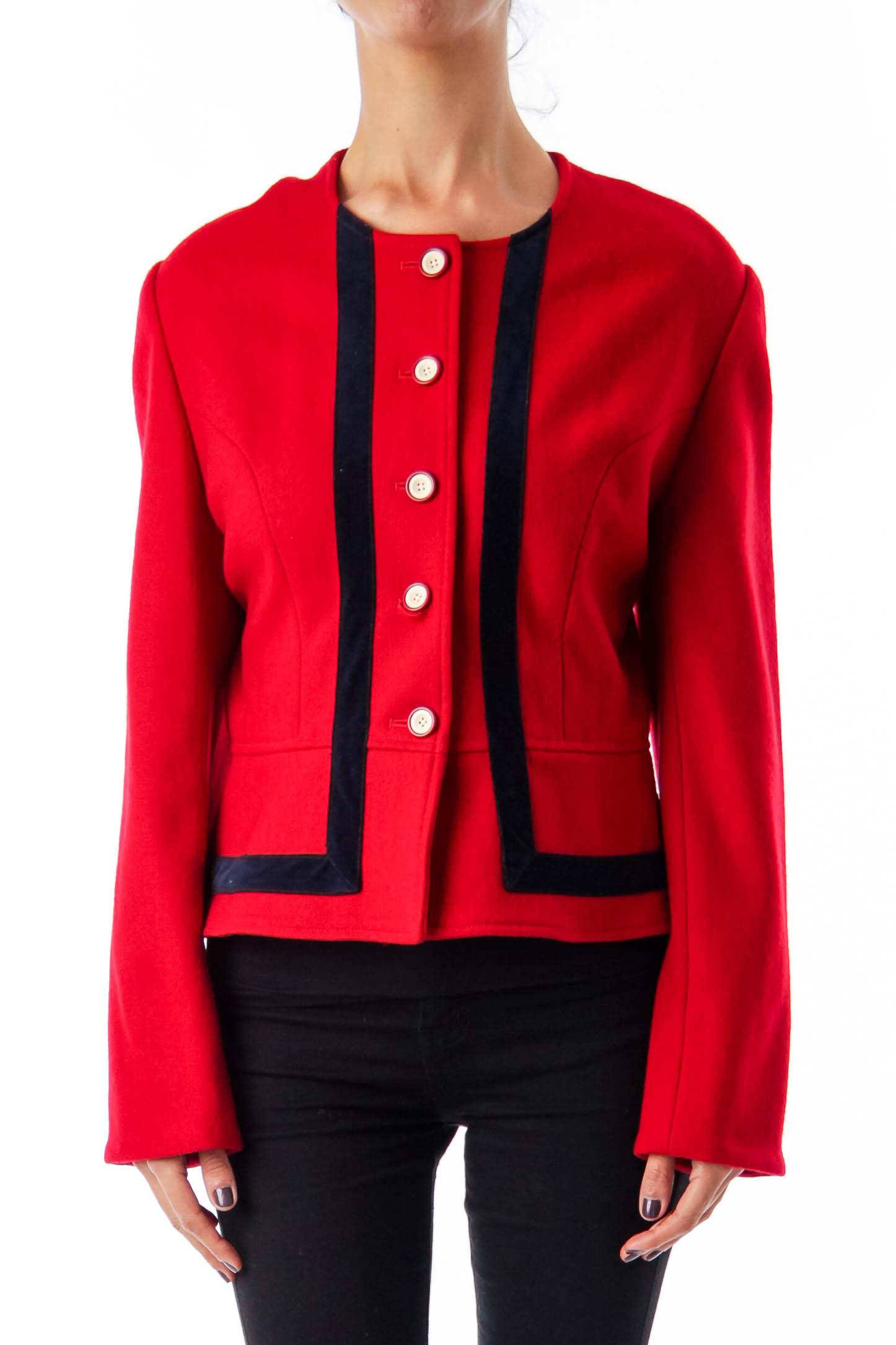Red Velvet Detail Wool Blazer