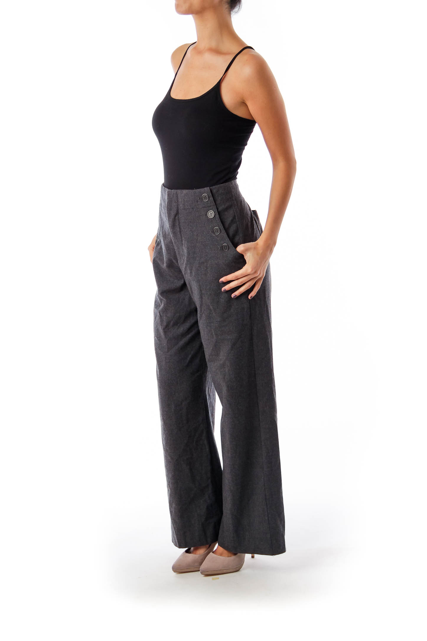 Gray Pocket Button Detail Wide Leg Pants